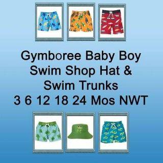 Gymboree Boys Swim Shop Trunks, Hat NWT 3 6 12 18 24 Mos