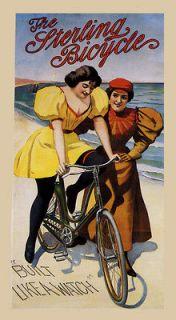 Girls Beach Sterling Bicycle Bike Built Like Watch Vintage Poster