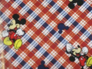 BTY MICKEY MOUSE RED PLAID DIAGONAL COTTON FABRIC 43