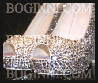 BOGINNI&CO WHITE CRYSTAL DIAMOND WHITE SATIN PEEPTOE WEDDING BRIDAL