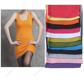 Summer Candy Color Lady Sleeveless Long Tank Vest Shirt Tops Sexy Mini