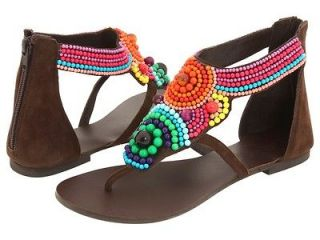 WOMENS DIBA BROWN SANDALS SHOES SIZE 8.5 NEW BEADED ORANGE GREEN BLUE