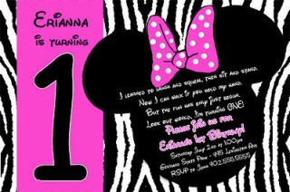 Pink or Purple Zebra Print Mickey & Minnie Mouse Birthday Invitations