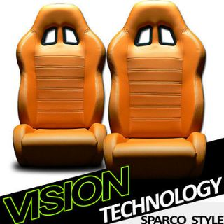 Orange Sport Racing Bucket Seats+Sliders Dodge/Plymouth (Fits Dodge