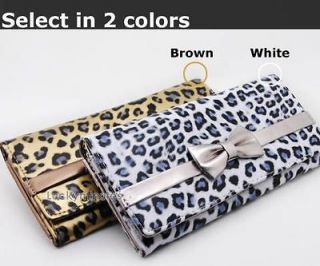 pcs in 2 color Leopard Print Bow Wallet Bag Purse