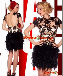 Hot Black Prom Dress Orangza Party Feather Beaded Wedding Dress MiNi