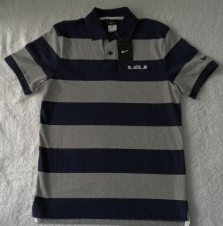 Nike LeBron James Mens Basketball Striped Grand Slam Polo Golf Shirts