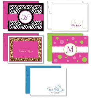 12 Personalized Note Cards Sage Green Name Monogram Initials Deco Box