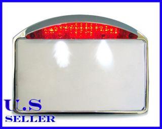 Side Mount Chrome aluminium License Plate Frame Tail Brake Light
