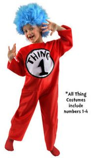 DELUXE THING 1 2 Cat In The Hat Dr. Seuss Costume Kit Child Kids Small