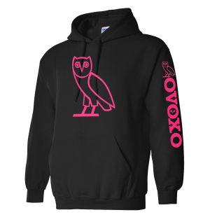 New OVOXO Hooded Sweatshirt Drake OVO OWL Hoodie YMCMB pink logo S