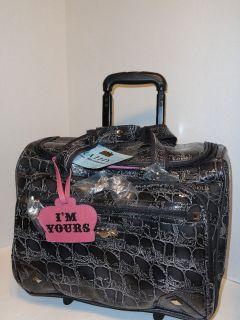 KATHY Van Zeeland Gray Croc Wheeled Tote Laptop Bag Briefcase Rolling