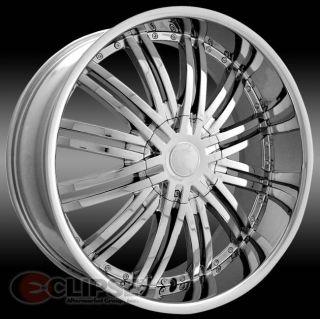 22 inch 22x8 ELR19 chrome wheels rims 5 LUG 5x120 +35