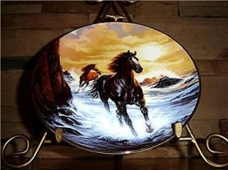THE FRANKLIN MINT SUNRISE FREEDOM BROWN HORSE PLATE