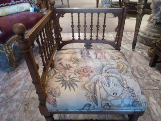 KING LOUIS XV STYLE SMALL ANTIQUE CORNER WOOD CHAIR