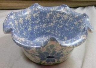 Sponge Print Flower Design Pottery Bowl EAST TEXAS POTTERY MARSHALL TX