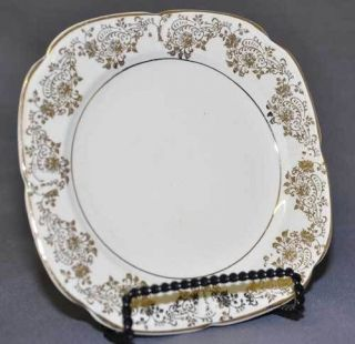 Edwin Knowles China Cream & Gold Flower LUNCHEON PLATE