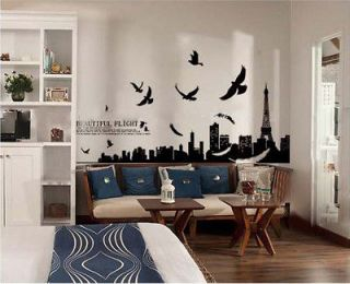 Paris Scenery Eiffel the Tower Wall Sticker Decor Decals Art Mutural