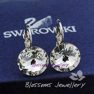 9K 9CT White GOLD GF Swarovski CRYSTAL Womens Wedding Earrings ES417
