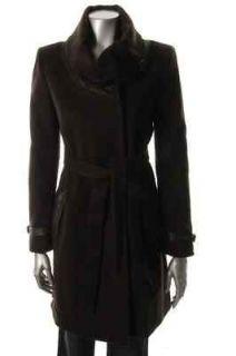 Elie Tahari NEW Savina Brown Wool Belted Snap Closure Coat S BHFO