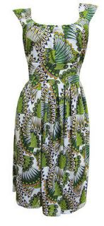 Green Peacock Print Sleeveless Stretch Party Dress Emilia Size 16
