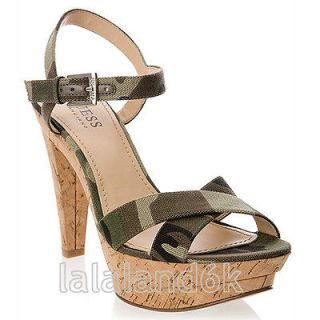 JENDALEE CAMOUFLAGE GREEN HEELS PLATFORM SANDALS SHOES 7.5 8.5
