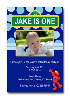 Photo Blue or Pink Polka Dot Sesame Street & Elmo Birthday Invitations