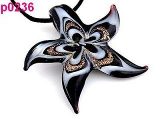 handwork Starfish Murano Lampwork beaded Pendant Necklace Cord p236