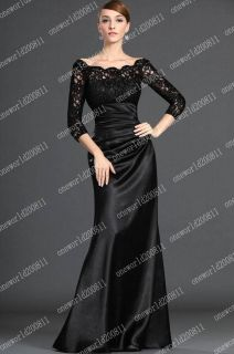 Stock New Black lace Long Sleeve Wedding Bridal Gown/Evening Dress SZ