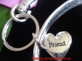 Best FRIEND Friendship Heart Key RING chain Charms//