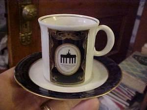 WEIMAR Porcelain Echt Kobalt, WHITE & Gold DEMITASSE CUP & SAUCER