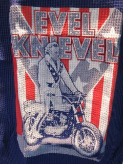NOS 70s EVEL KNiEVEL STUNT MOTORCYCLE DAREDEViL SPORT BLUE THERMAL T