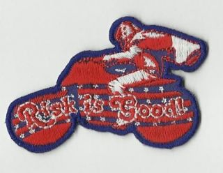 Evel Knievel Risk is Good stunt bike Iron on Patch Collectable gift