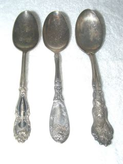 DH) 1881 Rogers A1, W.R., Pat 1906 three 6 silver spoons silverplate