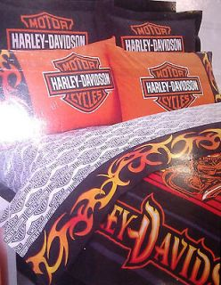 HARLEY DAVIDSON TWIN BEDROOM 5PC DEAL COMFORTER SHEETS w/PC VALANCE