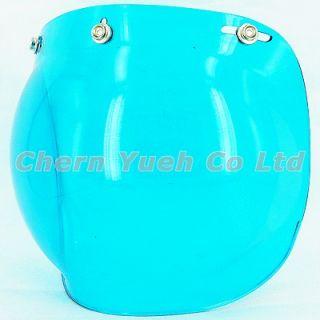 Bubble Shield Visor Face Mask Blue Lens for Vintage Open Face Helmet