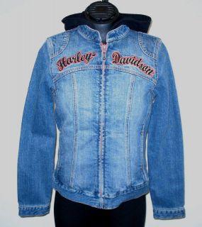 Womens Harley Davidson Denim 3 In 1 Jacket w/ Hooded Vest, 99114 10VW