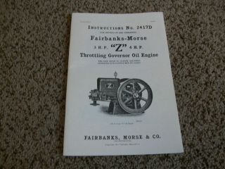 FAIRBANKS MORSE Z 3 & 6HP Owners Manual Reprint Hit & Miss