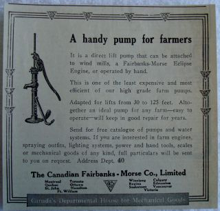 1914 FAIRBANKS MORSE FARM EQUIPMENT HANDY PUMP CANADA AD