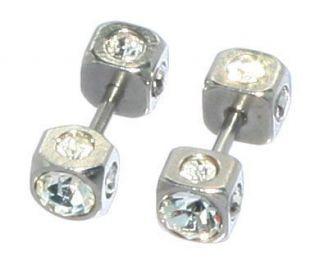 Fake square ear plugs earrings silver finish and simulated diamonds
