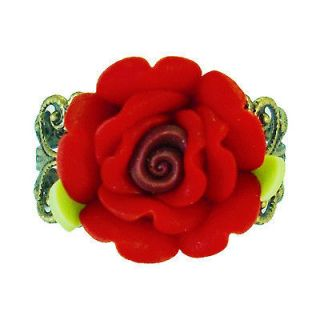 PJ51 VAMPIRE DIARIES RING ~ GOTHIC STYLE RED VINTAGE ROSE PROM NICE