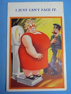 Comic Postcard 1950s BBW Fat Lady   Penny Arcade Weighing Machine