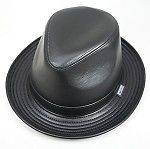 Black Genuine Leather Roll Tino Trilby Fedora Hats * Made in USA* #701