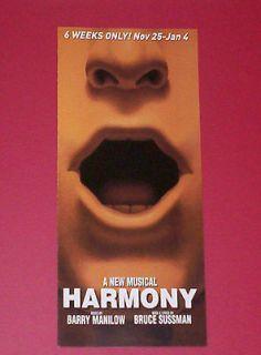 HARMONY, 2003 RARE Pre Broadway FLOP Musical Flyer, Philadelphia
