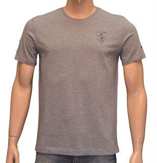 Puma Mens FERRARI Official Licensed Logo Short Sleeve Shirt Gray