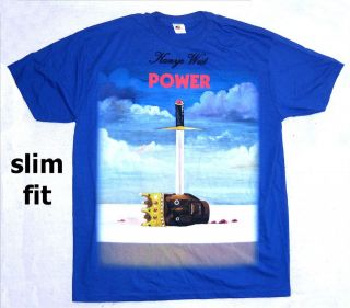 KANYE WEST POWER SWORD HEAD IMAGE BLUE T SHIRT SLIM FIT NEW