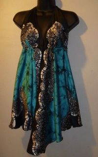 NWT SEXY Black & Teal Green Empire Scarf TOP or Mini Dress 1 SIZE S M