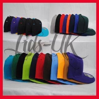 WHOLESALE PLAIN FLAT PEAK BASEBALL CAPS HATS RETRO SNAPBACK OR FITTED