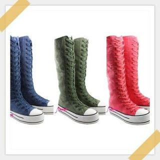 Girls Canvas Sneakers Punk Flat Tall Boots Knee High Lace Front Shoe