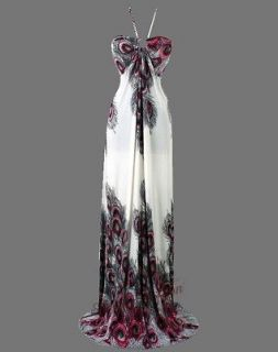 Floral Printed Peacock Halter Rope Maxi Dresses 2XL Red